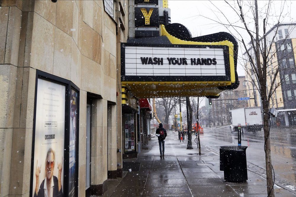 In Minneapolis, the Varsity Theater used the marquee to urge hand washing in this March 16 photo.