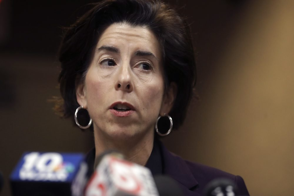 Rhode Island Gov. Gina Raimondo faces reporters during a news conference, Sunday in Providence, R.I. Raimondo, took questions on what officials described as the state's first presumptive positive case of coronavirus. Officials said the person is in their 40s and had traveled to Italy in February of 2020.