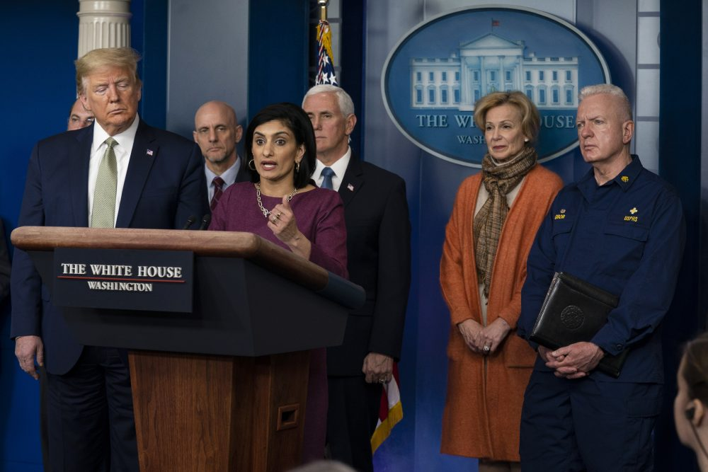 Administrator of the Centers for Medicare and Medicaid Services Seema Verma speaks during a press briefing with the coronavirus task force on Tuesday in Washington. The policy change carries out a waiver of Medicare rules recently authorized by Congress, and set in motion under emergency declarations from the Trump administration.