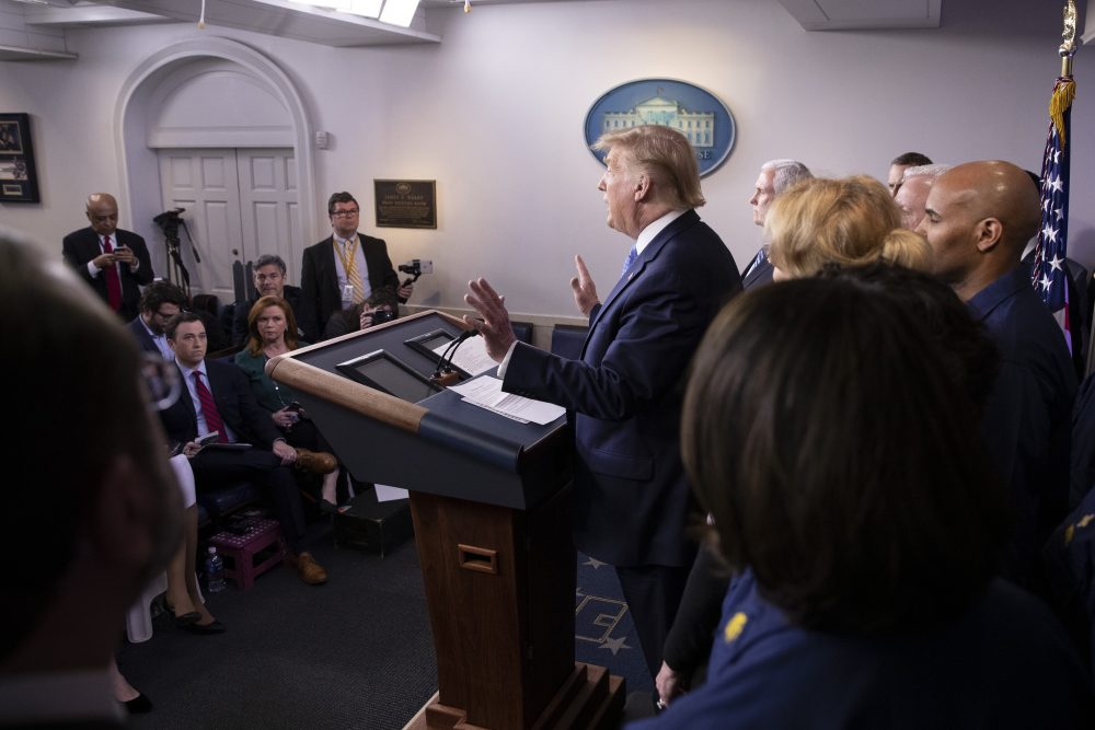 President Trump speaks Sunday during a briefing about the coronavirus in the James Brady Press Briefing Room of the White House in Washington.