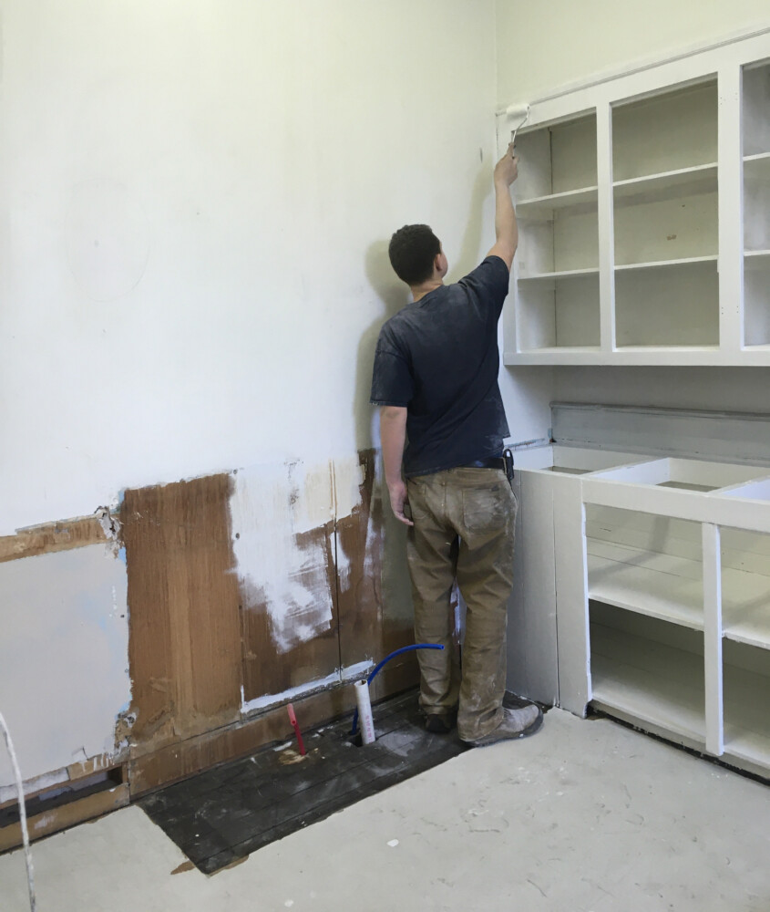 Zackery Ellis, a senior at Gardiner Area High School, is renovating the kitchen at the Hallowell American Legion Hall as his Eagle Scout Project.