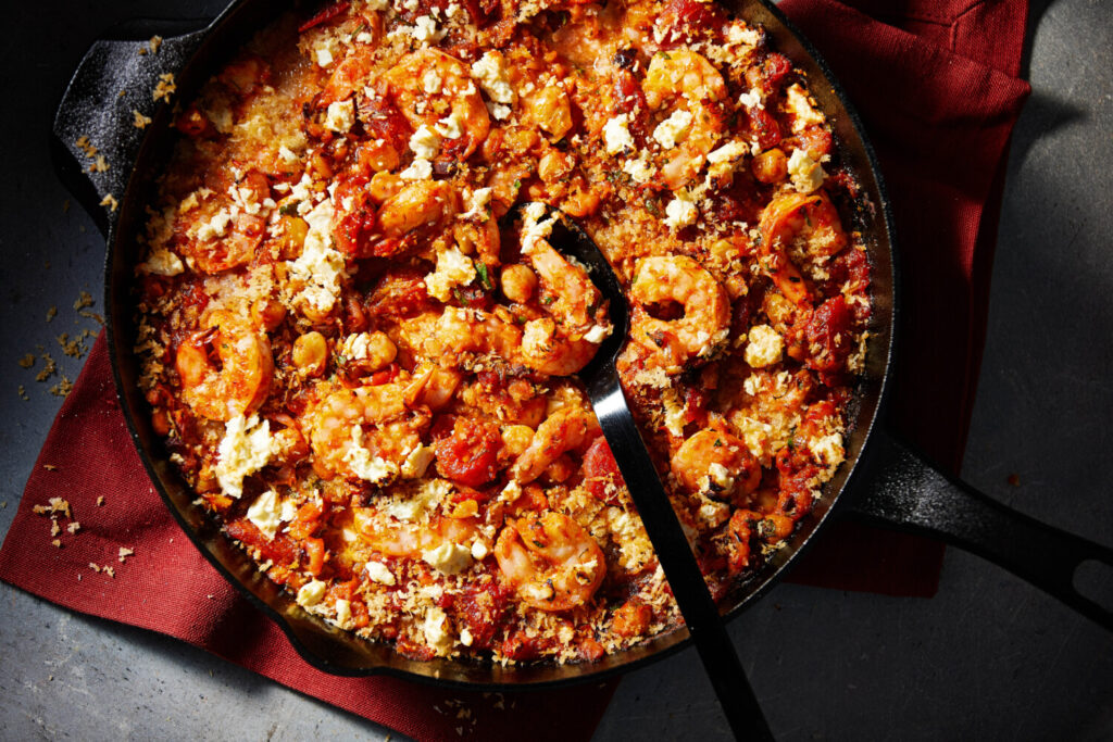 Baked Tomatoes, Shrimp and Chickpeas with Feta and Bread Crumbs.