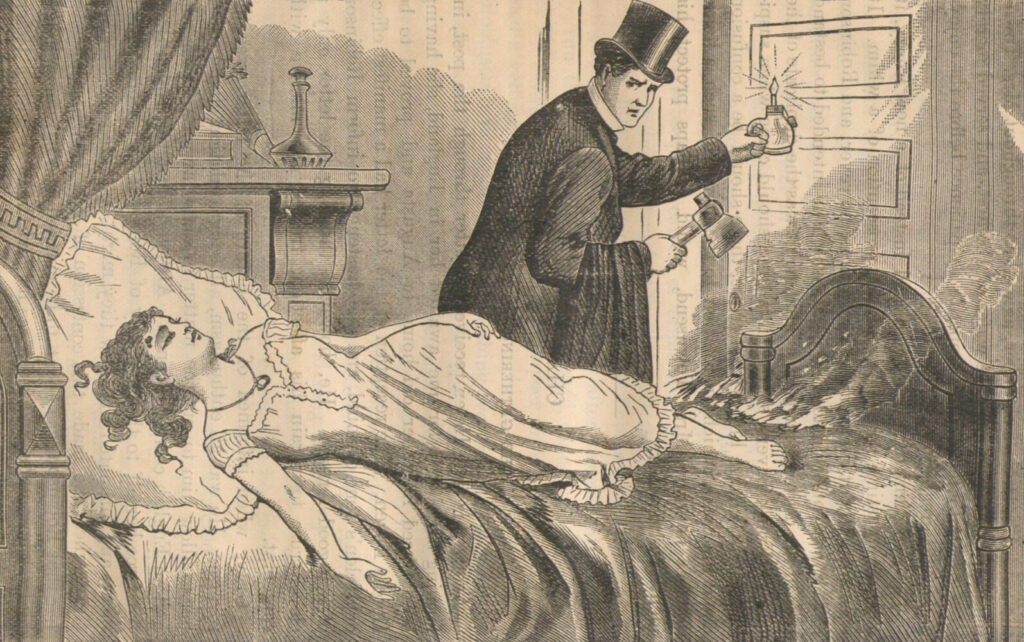 The imagined murder scene from a pamphlet entitled The truly remarkable life of the beautiful Helen Jewett, who was so mysteriously murdered. The strangest and most exciting case known in the police annals of crimes and mysteries in the great city of New York, published ca. 1878