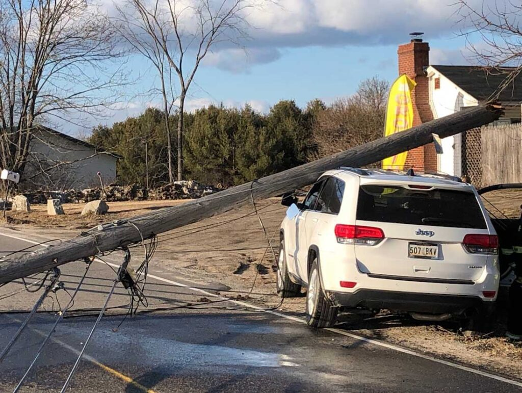 A driver from Louisiana was charged with operating under the influence after she crashed into a utility pole on Hill Road in Arundel on Sunday afternoon.
