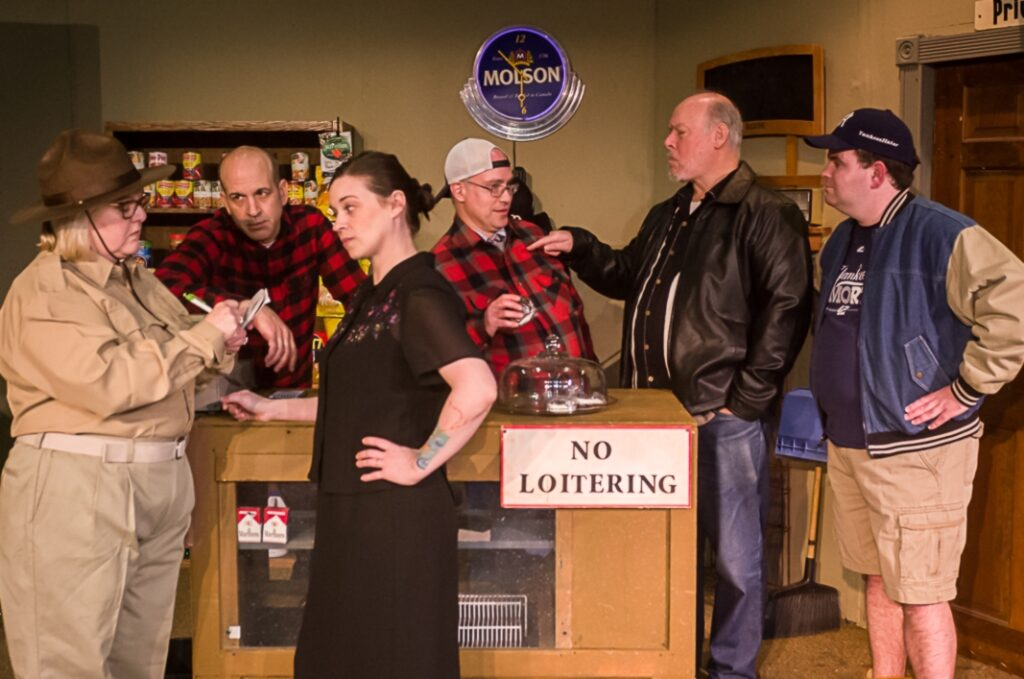 "The cast of ""Last Gas,"" from left, Lynne Currie-Rodrigue as Cherry-Tracy Pulcifer, David Moisan as Nat Paradis, Ashley Hamboyan as Lurene Legassey Soloway, Gregor Smith as Guy Gagnon, Joseph Klapatch as Dwight Paradis, and Daniel Giroux-Pare as Troy Paradis-Pulcifer. The play is directed by Lucy Rioux."