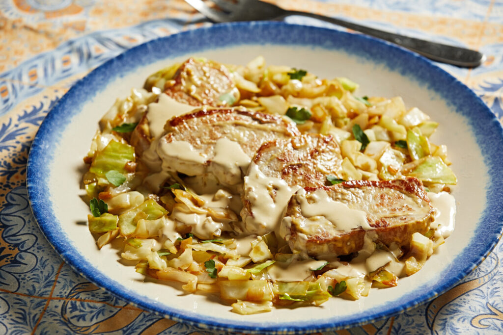 Pork and Cabbage with Mustard Cream Sauce.