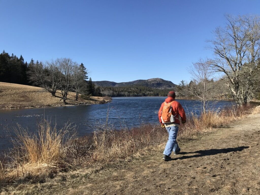 Columnist Carey Kish takes a social distancing hike recently at the Land and Garden Preserve on Mount Desert Island.
