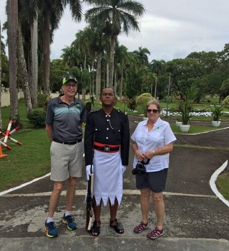Scott and Dona Ferguson of Winthrop are seen in front of Presidents Palace in Suva Fiji Islands. The couple has been stranded on a cruise ship in the South Pacific with 840 passengers, unable to find a port willing to let them come ashore amid the global coronavirus outbreak.