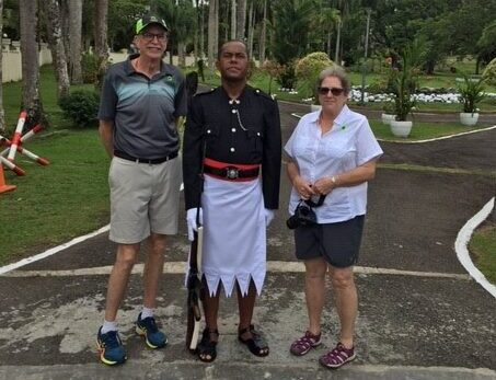 Scott and Dona Ferguson of Winthrop are seen in front of Presidents Palace in Suva Fiji Islands. The couple was stranded on a cruise ship with 840 passengers for 17 days amid the global coronavirus outbreak. They were finally able to find a port to come ashore and have returned home.