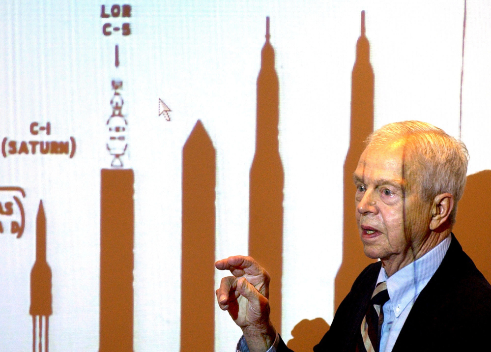 John C. Houbolt, an engineer whose contributions to the U.S. space program were crucial to NASA's successful moon landing, photographed in 2003.