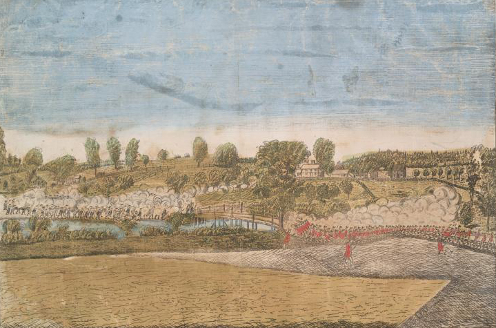 The engagement at the North Bridge in Concord, Plate III of Amos Doolittle's engravings of the Battles of Lexington and Concord, 1775.