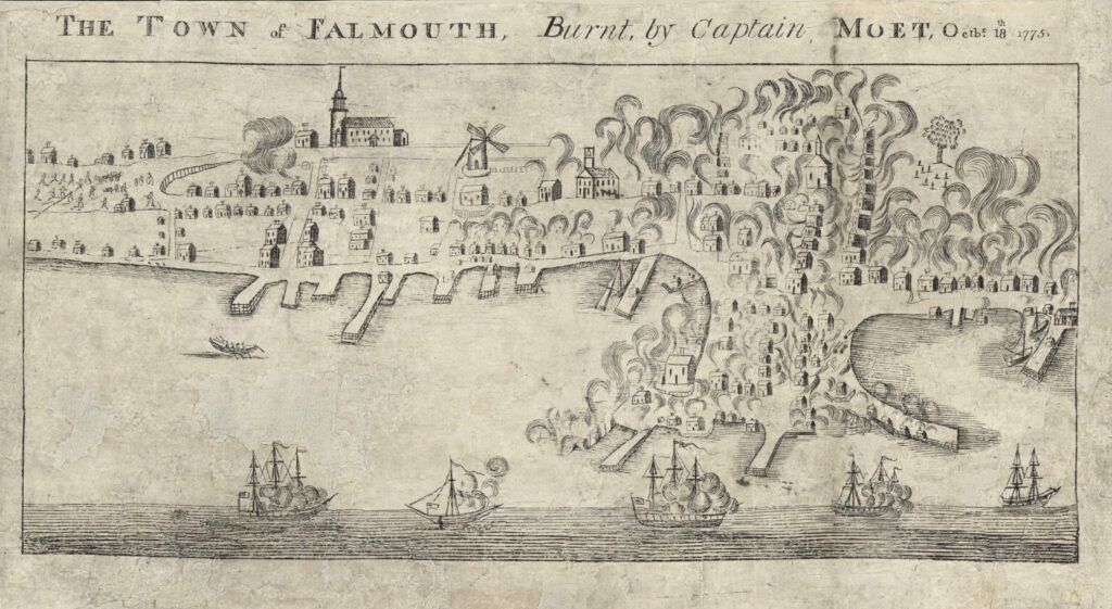 The Town of Falmouth Burnt by Captain Moet, Octbr. 18th, 1775
