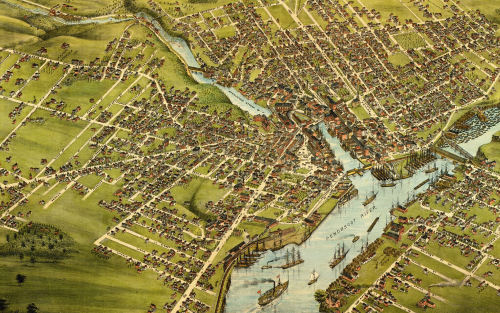 Detail of Bird's eye view of the City of Bangor, 1875