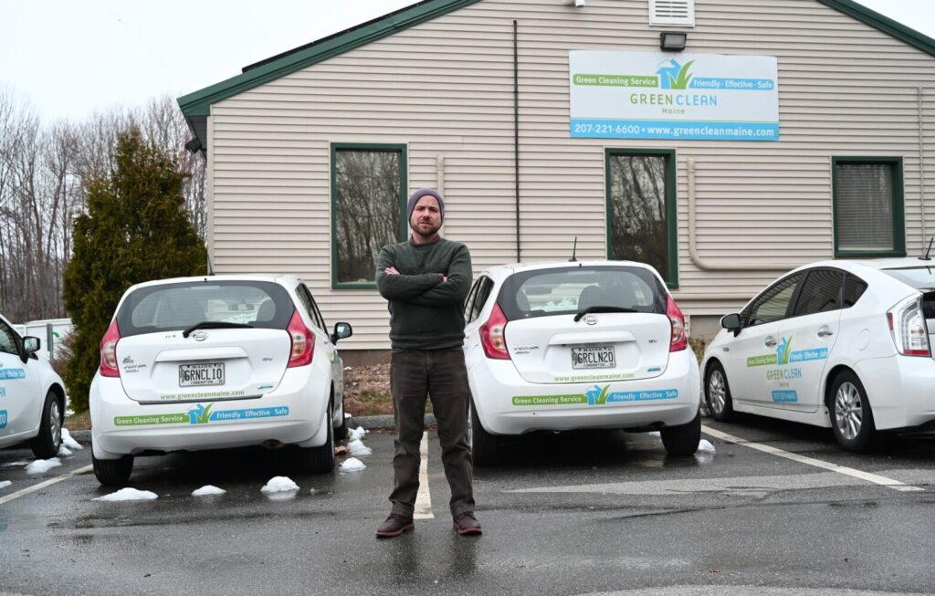 Joe Walsh, owner of Green Clean Maine, stands in front of his Portland business Friday. Walsh and other small business owners worry that a federal loan program designed to help businesses survive the coronavirus pandemic is too risky because borrowers are subject to strict spending rules and a tight deadline for full rehiring or retention of staff.