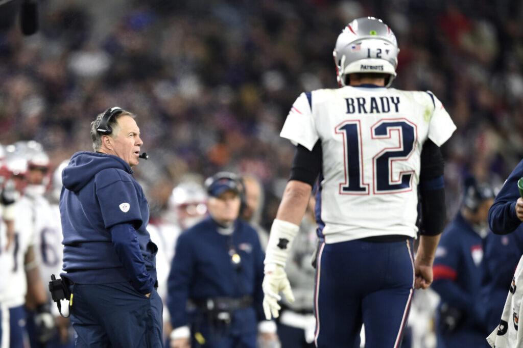 New England Patriots Coach Bill Belichick, left, continue to applaud Tom Brady for his contributions to the franchise but said it is time to move on with Brady now in Tampa Bay.