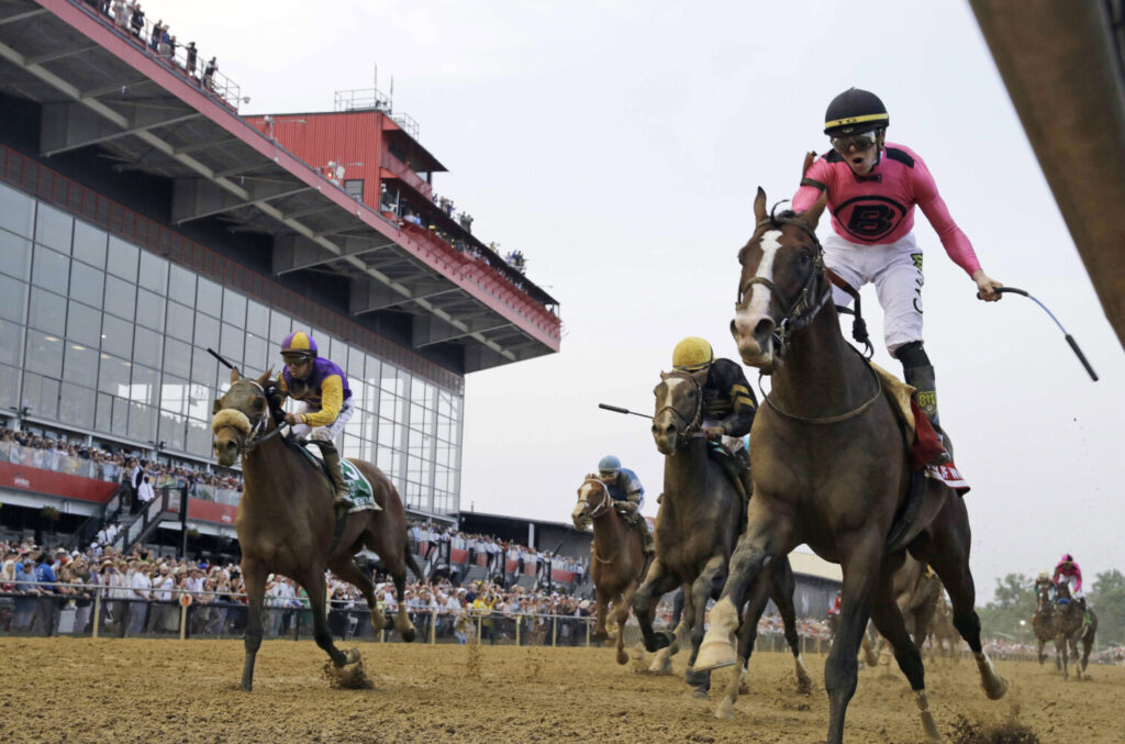 Jockey Tyler Gaffalione, right, reacts aboard War of Will, as they crosses the finish line first to win the Preakness Stakes in 2019 at Pimlico Race Course, in Baltimore. The race as been postponed to a to be determined date.