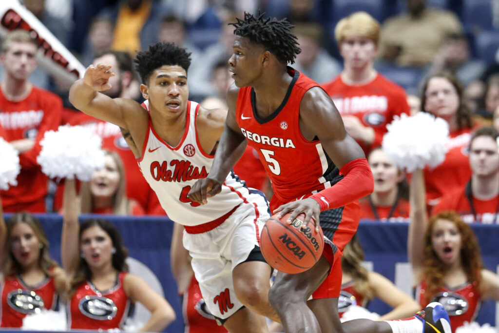 Georgia guard Anthony Edwards, right, is a potential top pick in the NBA draft, though no one knows when the draft will actually happen.
