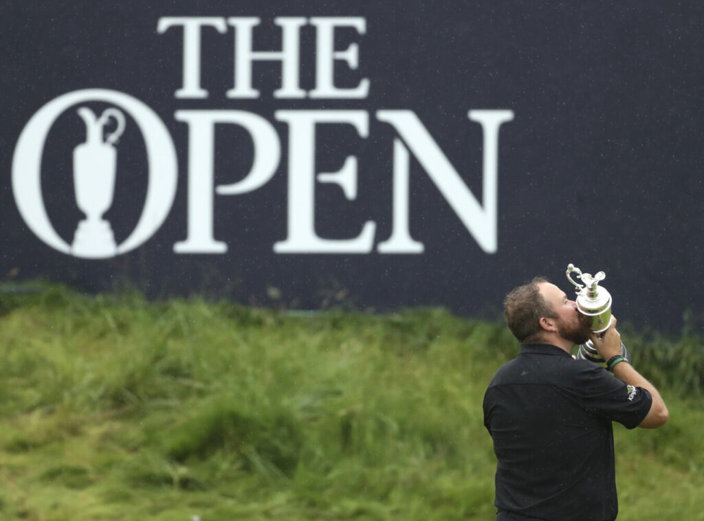 Shane Lowry holds and kisses the Claret Jug trophy after winning Tthe British Open last year. The organizers of the British Open announced Monday that they have decided to cancel the event in 2020 due to the current Covid-19 pandemic and that the Championship will next be played at Royal St George's in 2021.