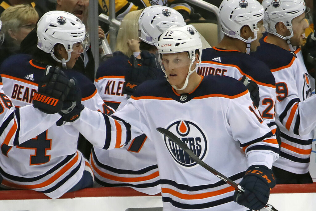 Edmonton Oilers' forward Colby Cave died Saturday after suffering a brain bleed earlier in the week. He was 25.