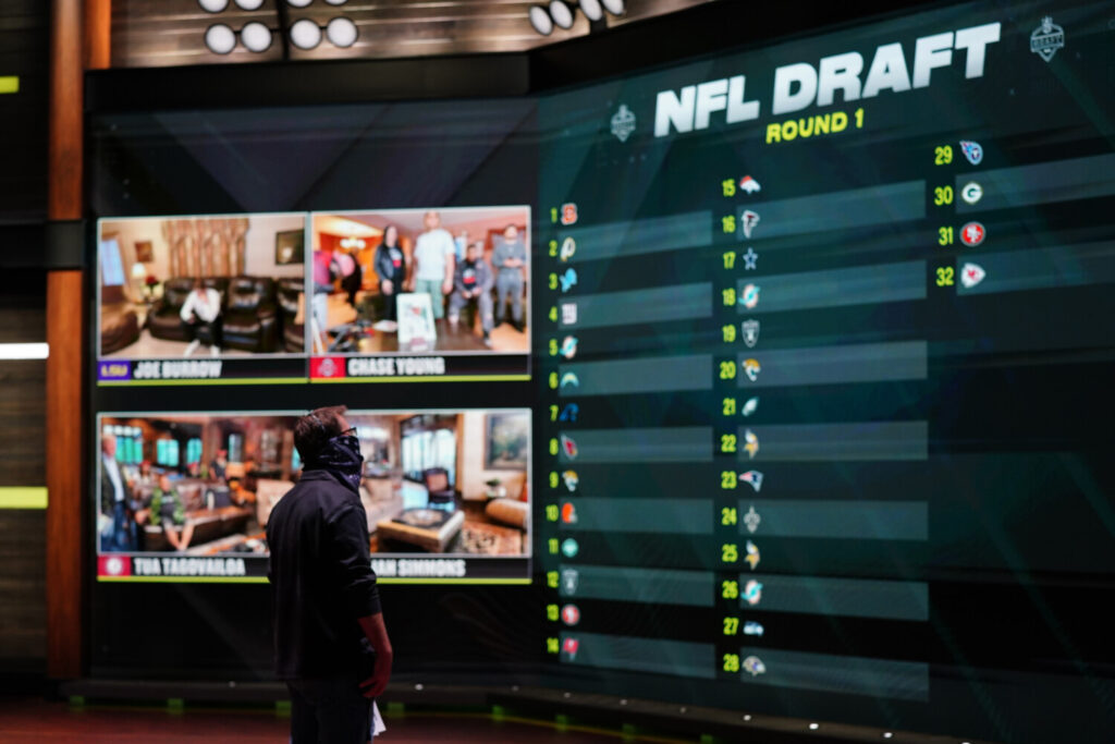 In a photo provided by ESPN Images, the draft board is seen before the start of the NFL draft on Thursday. The virtual draft went off well and drew large viewership.