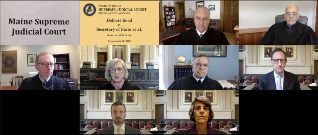 In this image made from a teleconferencing video provided by the Maine Supreme Judicial Court, its members hear the first arguments Tuesday in a lawsuit over the validity of petitions for a referendum on a hydropower transmission project. Seen in top row, from left, are Justices Thomas Humphrey and Joseph Jabar; middle row, Justices Jeffrey Hjelm, Ellen Gorman, Andrew Horton and attorney Nolan Reichl; bottom row, attorney David Kallin and Assistant Attorney General Phyllis Gardiner.