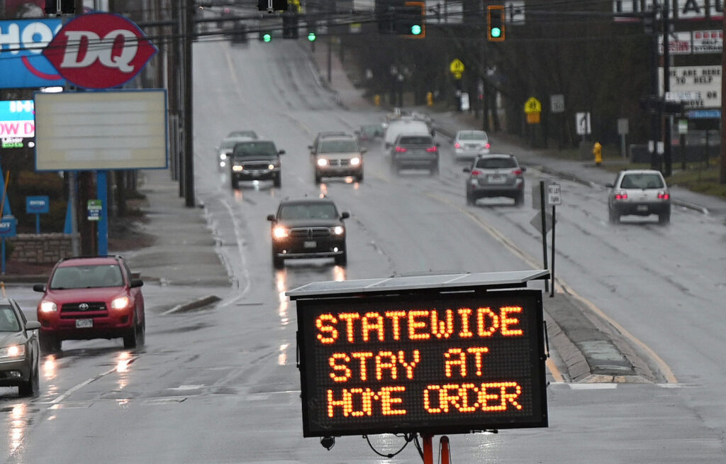 A sign in Saco on April 2 advises of the statewide stay-at-home order.