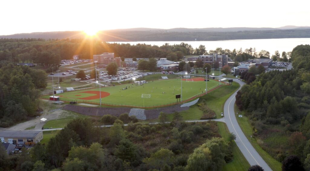 The sun sets over the campus of Central Maine Community College in Auburn.