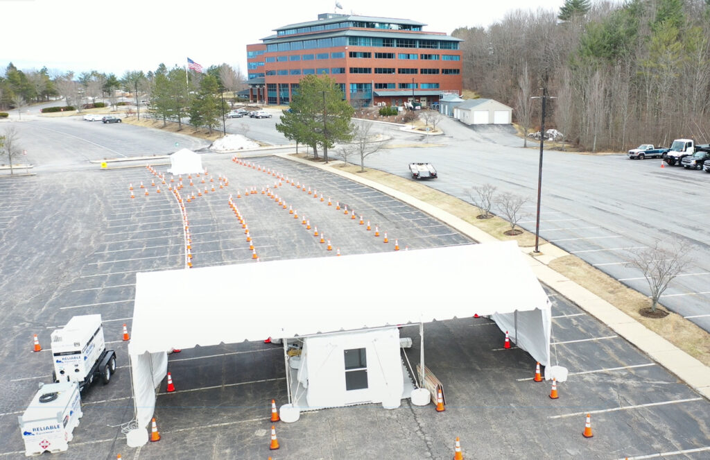 ConvenientMD, a chain of urgent care centers, is partnering with Anthem to provide drive-through coronavirus testing near Anthem's office building at 2 Gannett Drive in South Portland. The tents and drive-through spaces were set up Wednesday and will open Thursday.