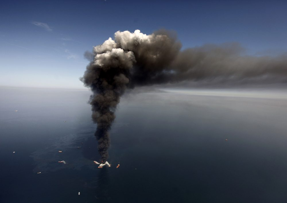 The Deepwater Horizon oil rig burns on April 21, 2010, in the Gulf of Mexico, more than 50 miles southeast of Venice on Louisiana's tip.