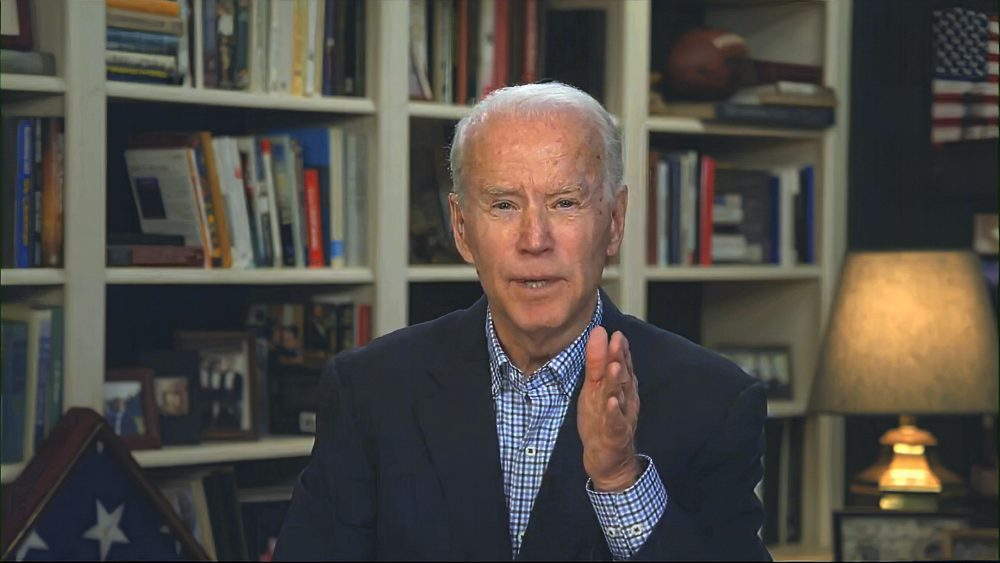 In this image from video, Democratic presidential candidate former Vice President Joe Biden speaks during a virtual press briefing March 25.