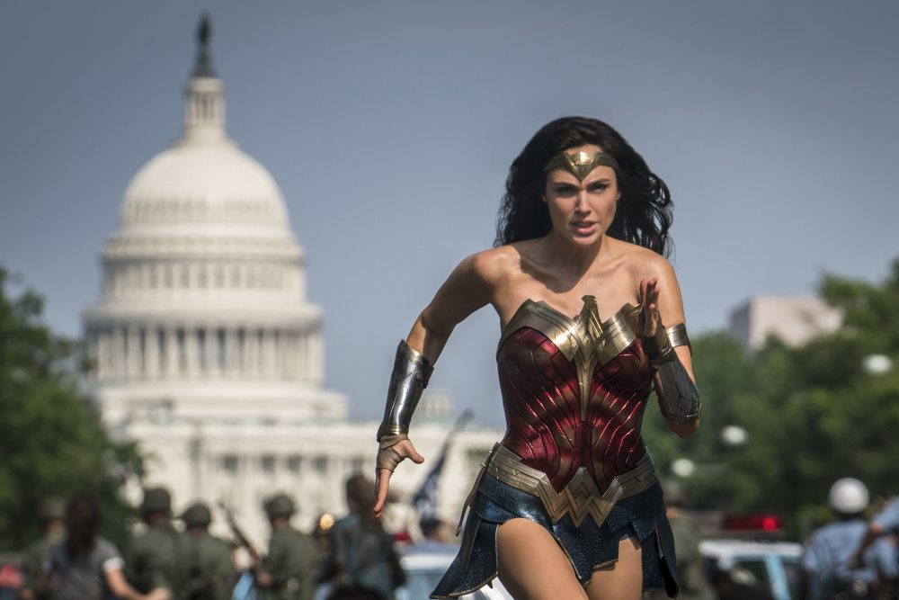 """This image released by Warner Bros. Pictures shows Gal Gadot as Wonder Woman in a scene from """"Wonder Woman 1984."""" Warner Bros. delayed the summer release of the film to Aug. 14 instead of June 5 because of the coronavirus pandemic."""