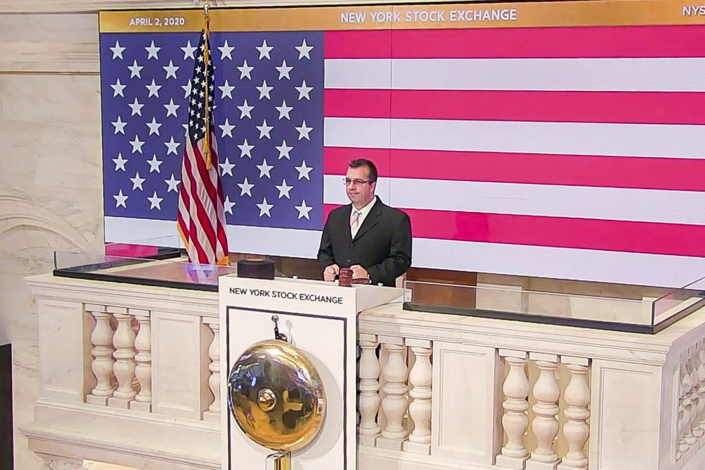 Robert Glorioso, chief of Building Engineering Operations, rings the opening bell at the New York Stock Exchange on Thursday.