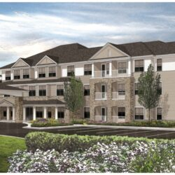 Rendering of new HarborChase assisted living and memory care facility in South Portland