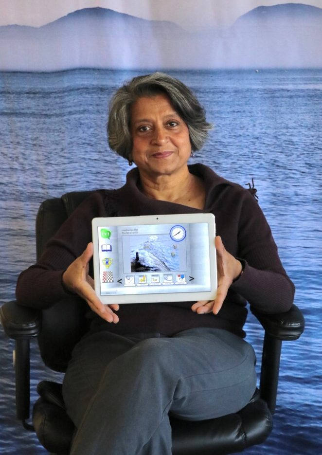 Piali De, CEO of Senscio Systems, holds the company's Ibis tablet. The Scarborough-based company is expanding to offer its home-based health management system to more patients.