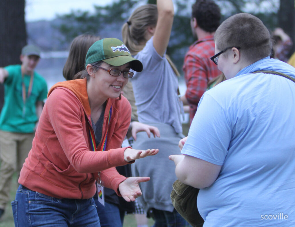 Jess Anderson, director of The Leadership School at Kieve Wavus Education, participates in a workshop at OUT Maine's 2019 Rainbow Ball Weekend at Camp Wavus.  Anderson will present  an online workshop on effective communication on Tuesday, May 12, in collaboration with OUT Maine.