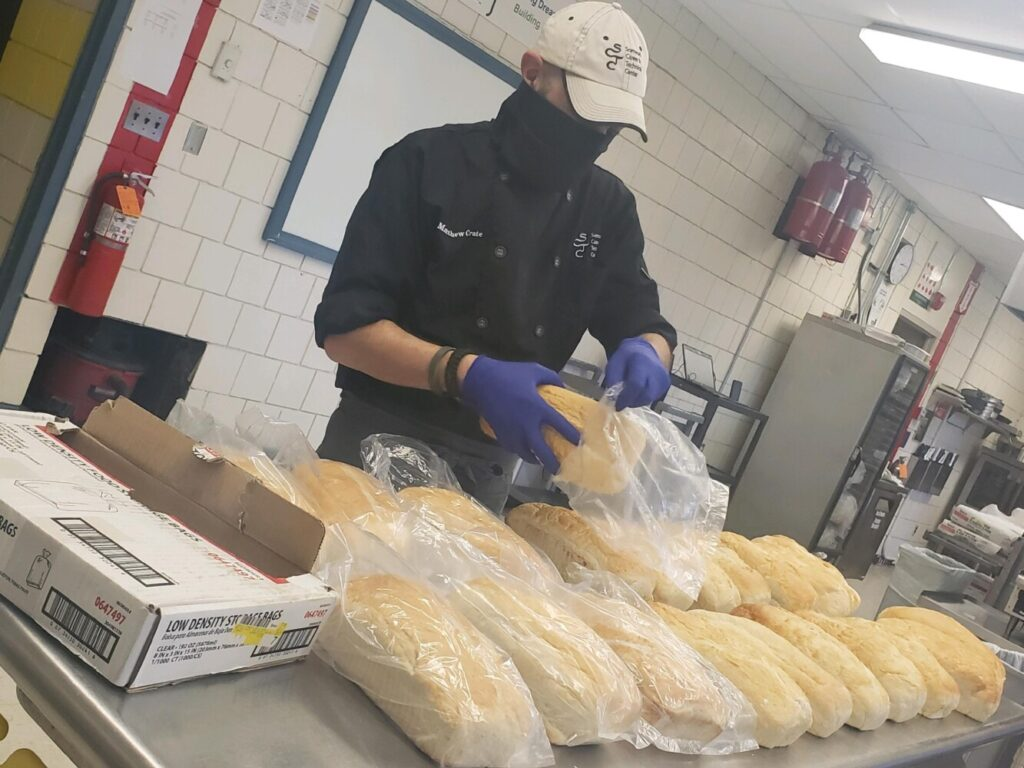 Chef Matt Crate, culinary arts instructor at the Somerset Career & Tech Center, offered to bake 200 loaves of bread weekly for the Alfond Youth and Community Center's Back Pack Program.