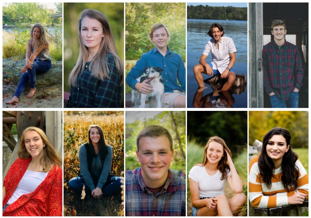 Maranacook Community High School top 10 scholars for the class of 2020. Top from left are Emma Hagenaars, Nina Gyorgy, John McLaughlin, Carter McPhedran and Robbie McKee. Bottom from left are Ashley Cray, Amanda Goucher, Wyatt Cannell, Allyse Bonenfant and Sydney Birtwell.