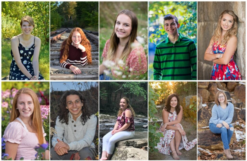 Oak Hill High School in Wales has announced its top 10 seniors for the class of 2020. Top from left are Daisy Cole,  Desirae Dumais, Morgan Inman, Ethan Mousseau and Magdolyn Ryder. Bottom from left are Angela Strout, Levi Sturtevant, Kayla Walker, Grace Woodard and Peyton Wright.