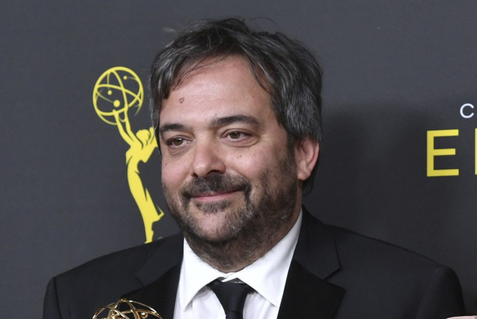 """Adam Schlesinger, winner of the awards for outstanding original music and lyrics for """"Crazy Ex Girlfriend,"""" in the press room at the Creative Arts Emmy Awards in Los Angeles in September 2019. Schlesinger, an Emmy and Grammy winning musician and songwriter known for his band Fountains of Wayne and his songwriting on the TV show """"Crazy Ex-Girlfriend,"""" has died from coronavirus."""