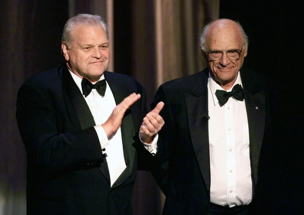Actor Brian Dennehy, left, applauds playwright, Arthur Miller on June 6, 1999, before awarding him the Lifetime Achievement Award at the Tony Awards in New York. Dennehy died of natural causes on Wednesday in New Haven, Conn. He was 81.