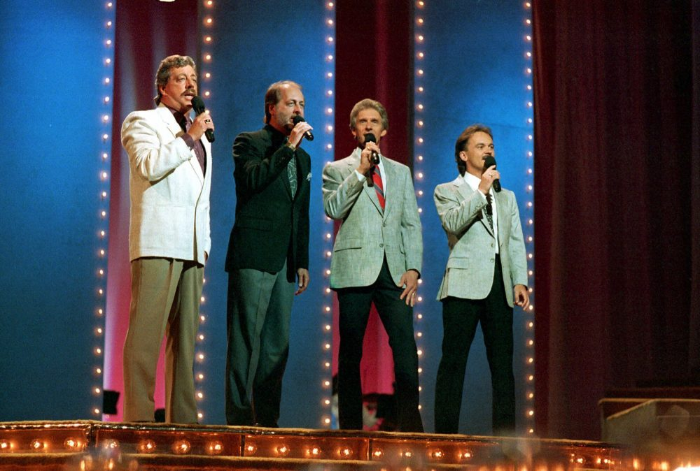 The Statler Brothers, from left, Harold Reid, Don Reid, Phil Balsley and Jimmy Fortune, perform June 5, 1989,   at the 23rd annual Music City News Country Awards show in Nashville, Tenn. Harold Reid, who sang bass for the Grammy-winning country group The Statler Brothers, died Friday. He was 80.