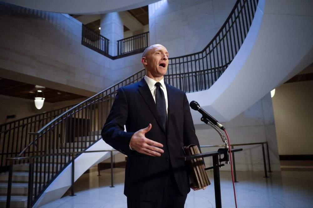 Carter Page, a foreign policy adviser to Donald Trump's 2016 presidential campaign, speaks with reporters Nov. 2, 2017, following a day of questions from the House Intelligence Committee, on Capitol Hill in Washington.