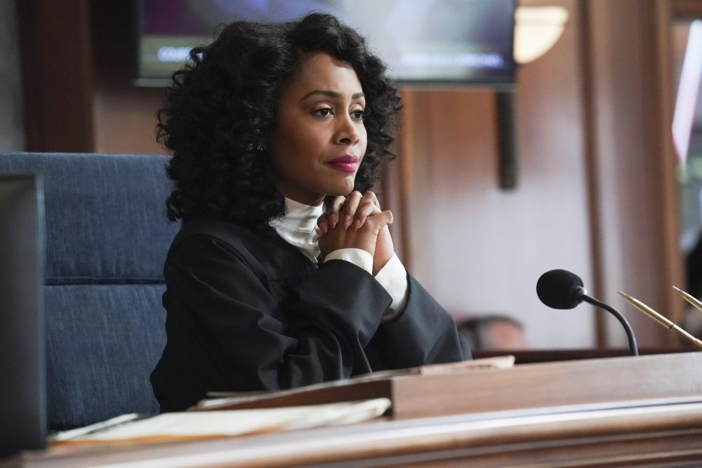 "This image released by CBS shows Simone Missick in a scene from ""All Rise."" The CBS series will virtually produce an episode that reflects the world's current state of the COVID-19 pandemic, social distancing and its impact on the criminal justice system."