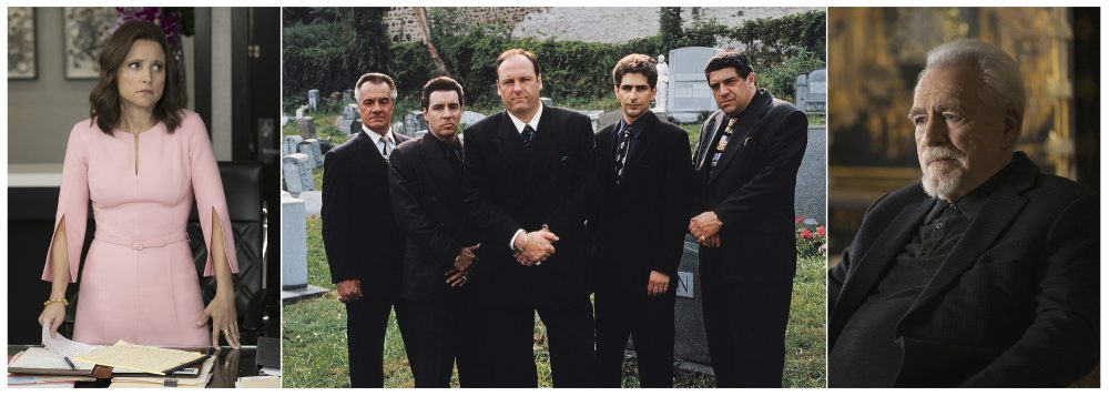 """This combination photo shows Julia Louis-Dreyfus in """"Veep,"""" from left, Tony Sirico, Steve Van Zandt, James Gandolfini, Michael Imperioli and Vincent Pastore from """"The Sopranos,"""" and Brian Cox from """"Succession."""" The three series are among several HBO series available for free streaming on HBO Now."""