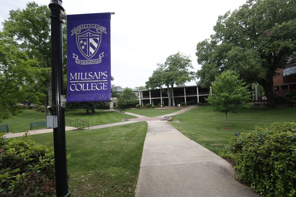 A normally busy campus square at Millsaps College in Jackson, Miss., is deserted in face of the coronavirus, as the liberal arts school, like many others, faces financial and enrollment challenges. Colleges across the nation are scrambling to close deep budget holes, and some have been pushed to the brink of collapse.