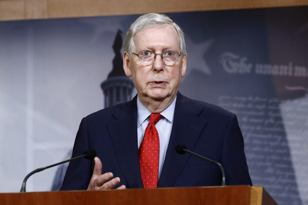 Senate Majority Leader Mitch McConnell of Ky., speaks with reporters April 21 after the Senate approved a nearly $500 billion coronavirus aid bill on Capitol Hill in Washington.