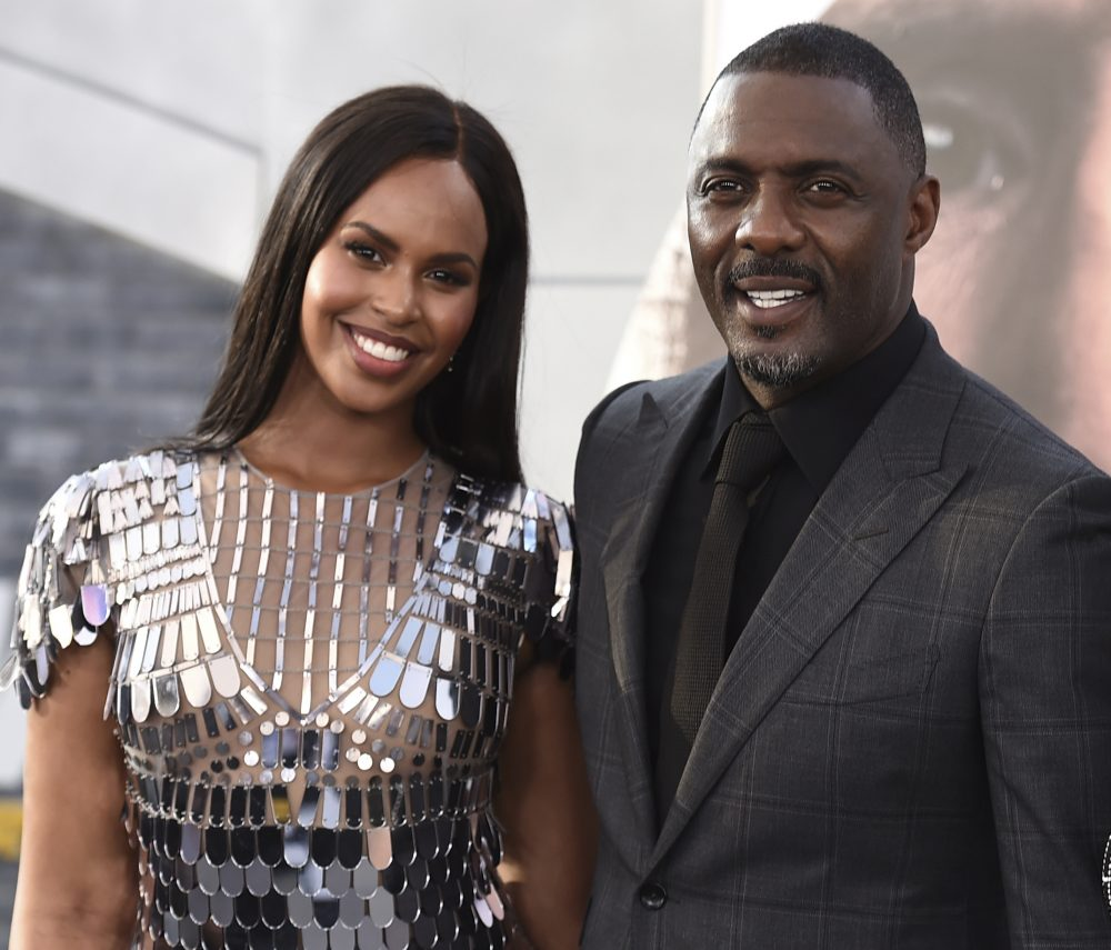 """Idris Elba with his wife Sabrina Dhowre Elba at the Los Angeles premiere of """"Fast & Furious Presents: Hobbs & Shaw"""", at the Dolby Theatre."""