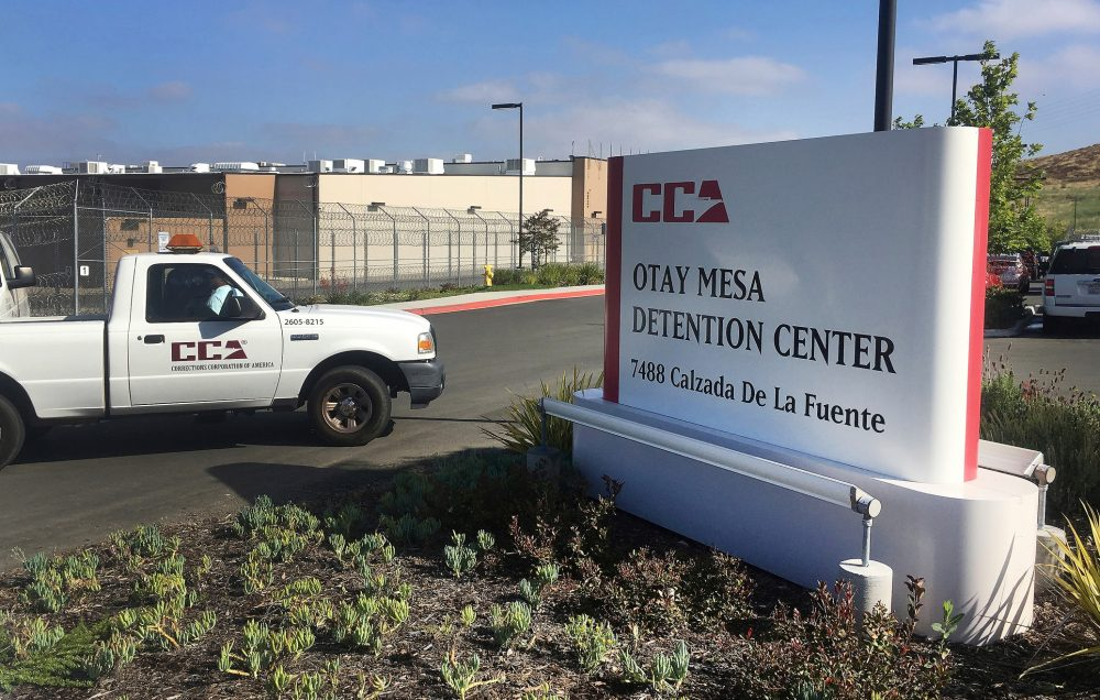 In this June 9, 2017, file photo, a vehicle drives into the Otay Mesa detention center in San Diego. The coronavirus is spreading in immigration detention including the Otay Mesa detention center, with more than 70 detainees in 12 states testing positive and hundreds of others under quarantine.