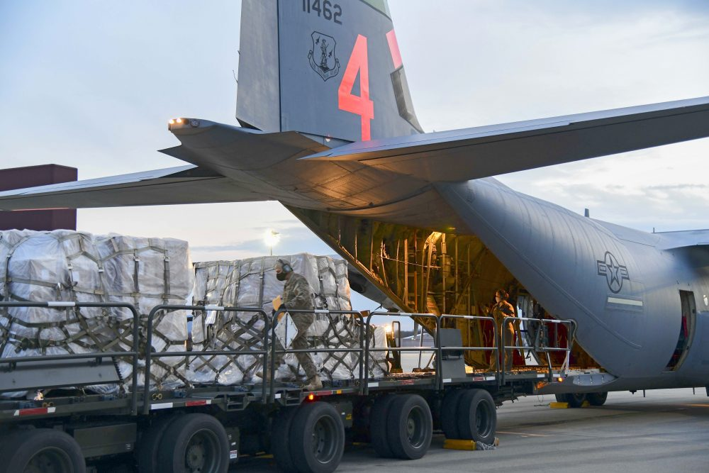 Airmen from the 146th Airlift Wing of the California Air National Guard in California deliver 200 ventilators to the New York Air National Guard's 105th Airlift wing at Stewart Air National Guard Base in New York on Tuesday.