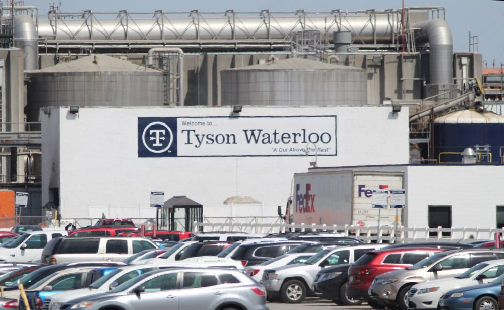 The Tyson Fresh Meats plant in Waterloo, Iowa, was temporarily shut down Wednesday, and testing of its 2,800 workers is expected to start Friday.
